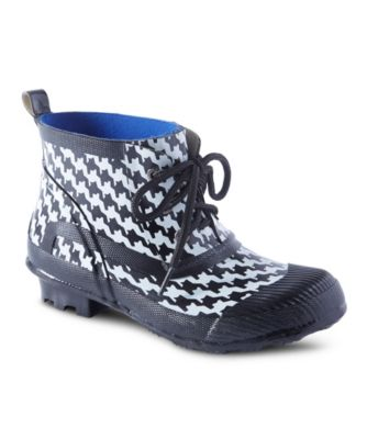 Women's WindRiver Women's Monsoon Lace-Up Houndstooth Rain boots Black 7