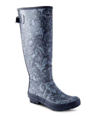 Women's WindRiver Women's Splash Paisley Print Rain boots Black 6