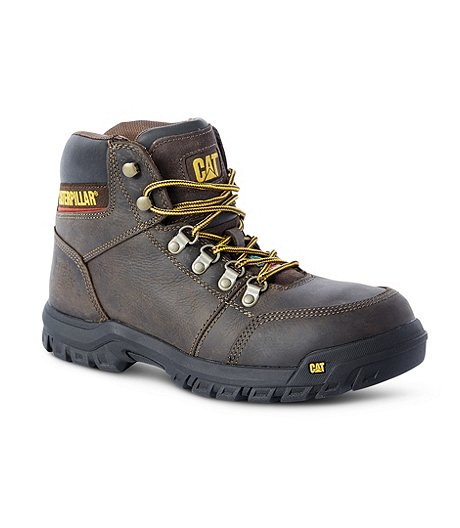 Men's Outline Steel Toe Steel Plate Leather Work Boots