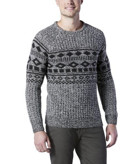 Long Sleeve Cabin Yarn Crew Neck Fair Isle Sweater | Mark's