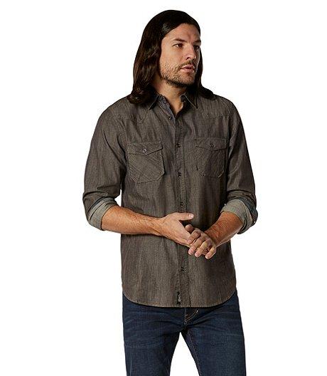 4e35b9837b3 DH3 Long Sleeve Western Denim Shirt - Modern Fit