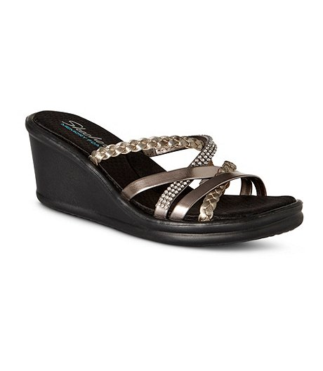 3355b675ec27 Skechers Women s Rumblers Wild Child Wedge Sandals