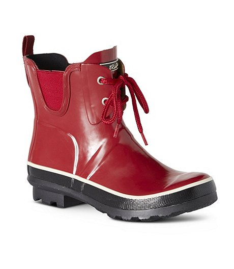 Women's Poppy Waterproof Rubber Rain Boots - Red