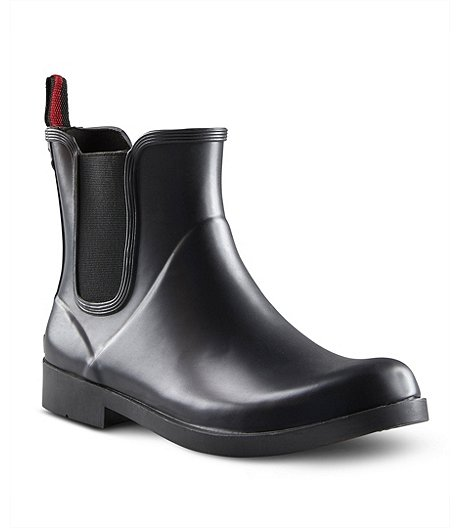 Women's Delta Waterproof Chelsea Rubber Rain Boots - Black