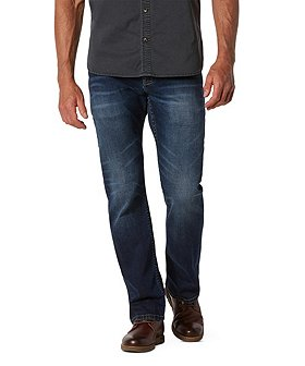 WindRiver Men's Water-Repellent HD1 Straight Fit Strong Jeans Medium Wash