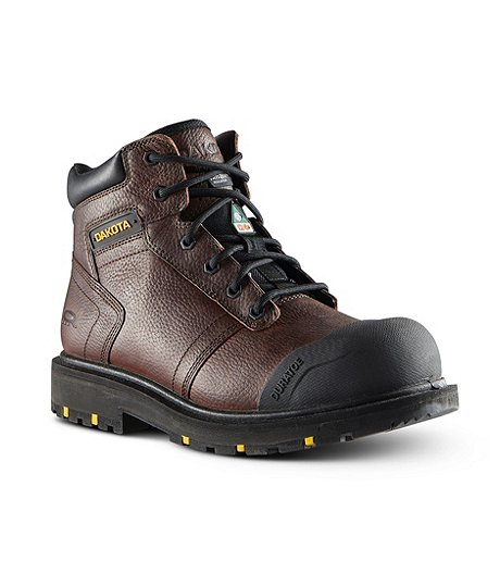 Men's Dakota 6002 6 In Steel Toe Steel Plate Leather Work Boots