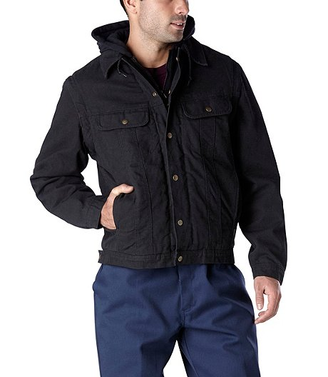 Men's Washed Canvas Sherpa-Lined Hooded Jacket