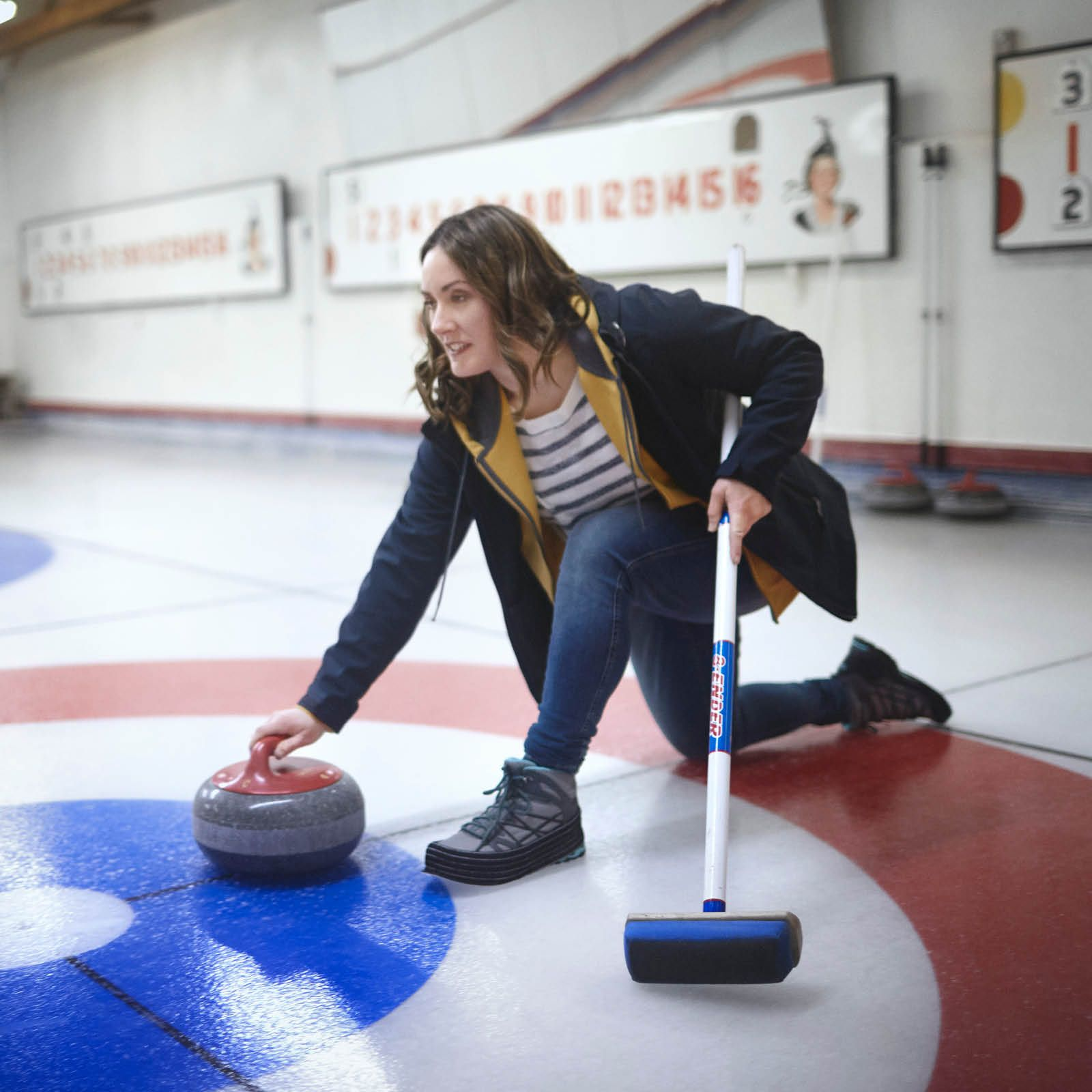 Jana Bookholt at the Curling Rink.