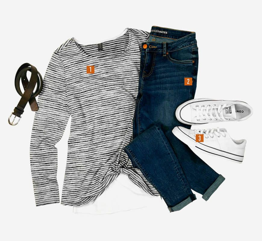 Jeans - Style It - 1. Long Sleeve T-Shirt, 2. Skinny Jeans, 3. Sneakers