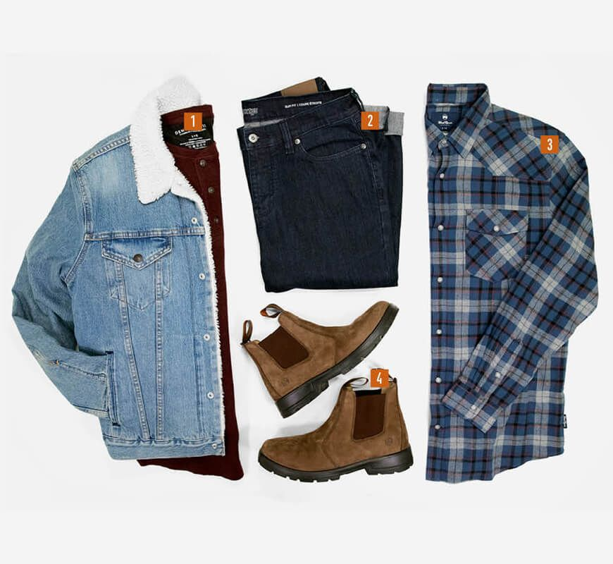 Jeans - Style It - 1. Sweater, 2. Denim Jacket, 3. Flannel, 4. Casual Boots