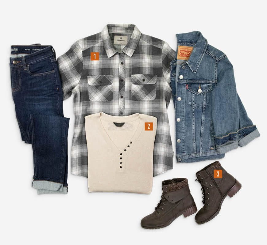 Jeans - Style It - 1. Jean Jacket, 2. Sweater, 3. Flannel, 4. Casual Boots