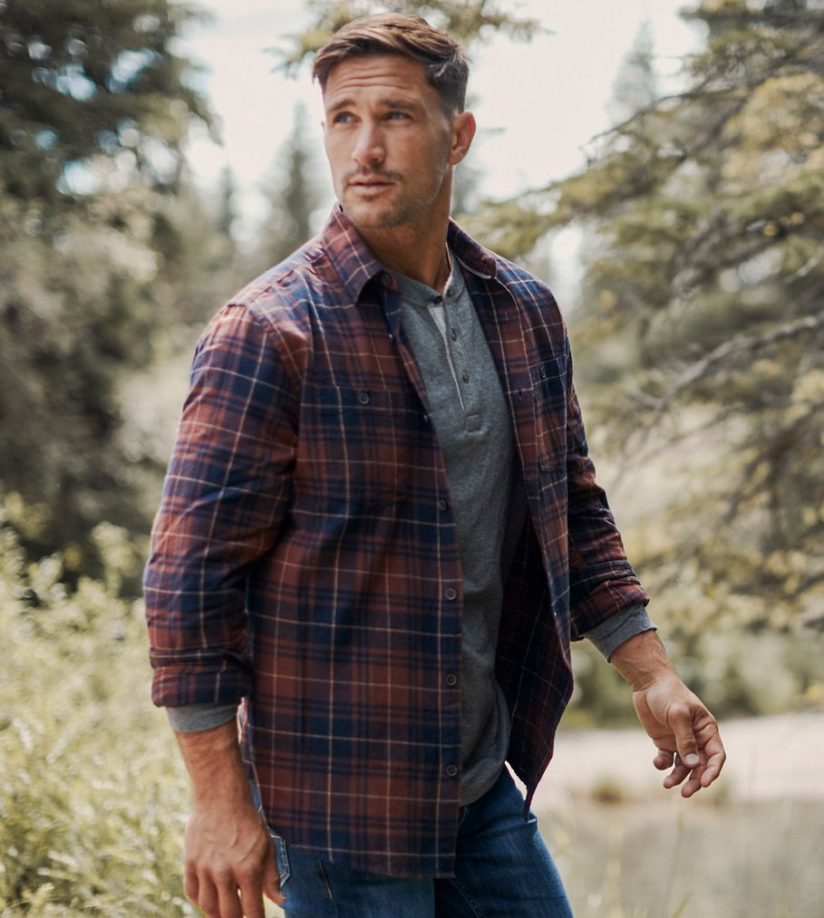 Male model in flannel shirt.