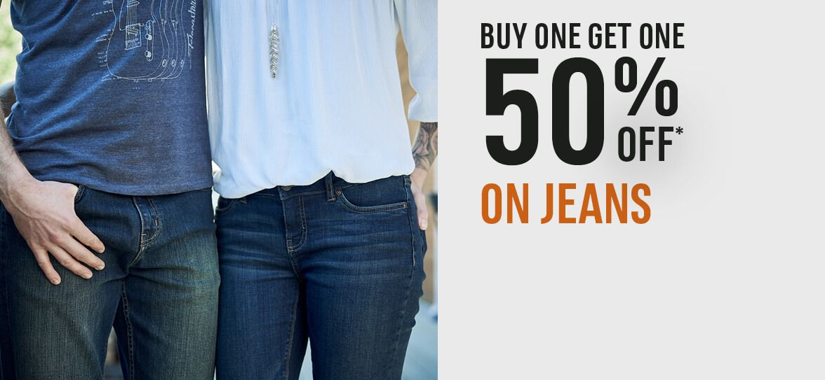 Buy One Get One 50% off on Jeans