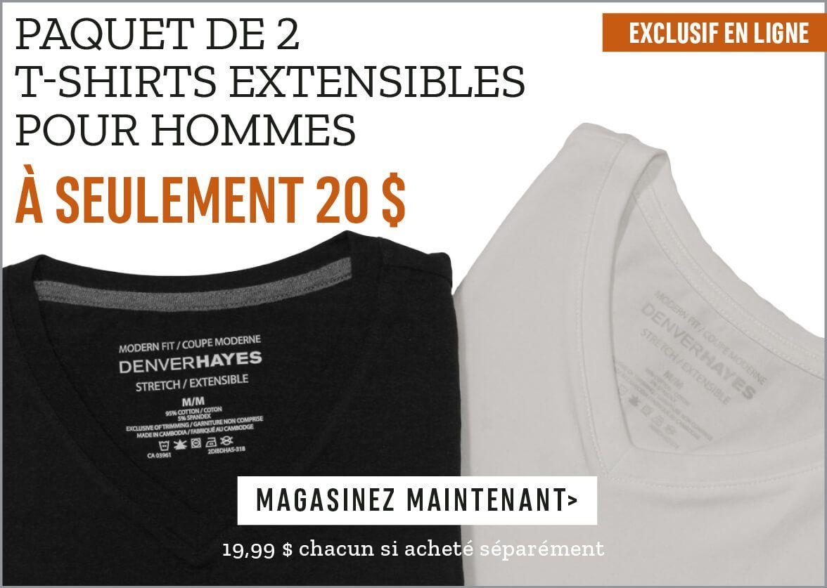 Paquet de 2 t-shirts extensibles pour hommes à seulement 20 $