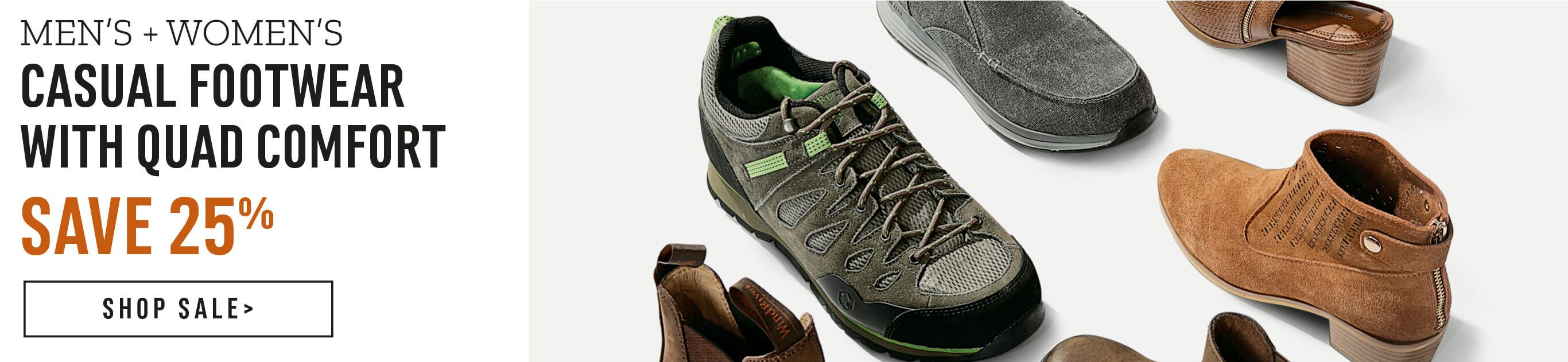 Men's and women's casual footwear with quad comfort - Save 25% - Shop Sale