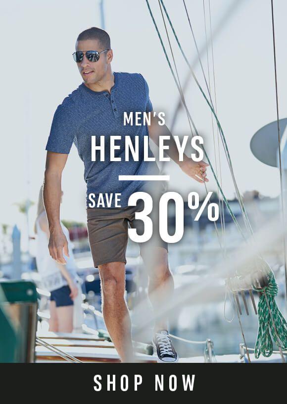 Men's Henley's - Save 30% - Shop Now
