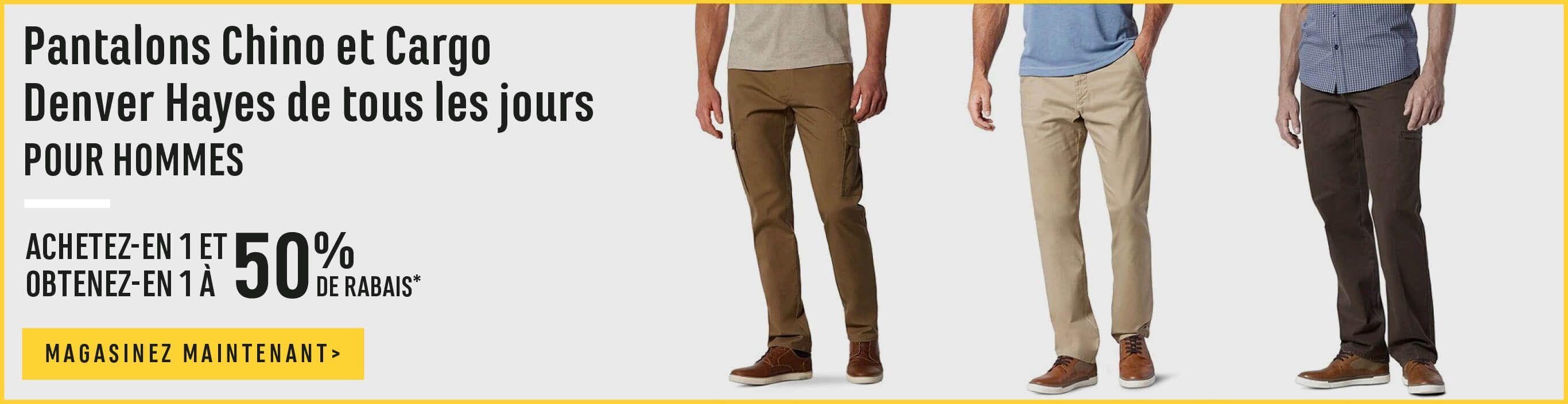 Pantalons Chino et Cargo Denver Hayes de tous les jours pour hommes. Achetez-en 1 et obtenez-en 1 à 50% de rabais - magasinez maintenant
