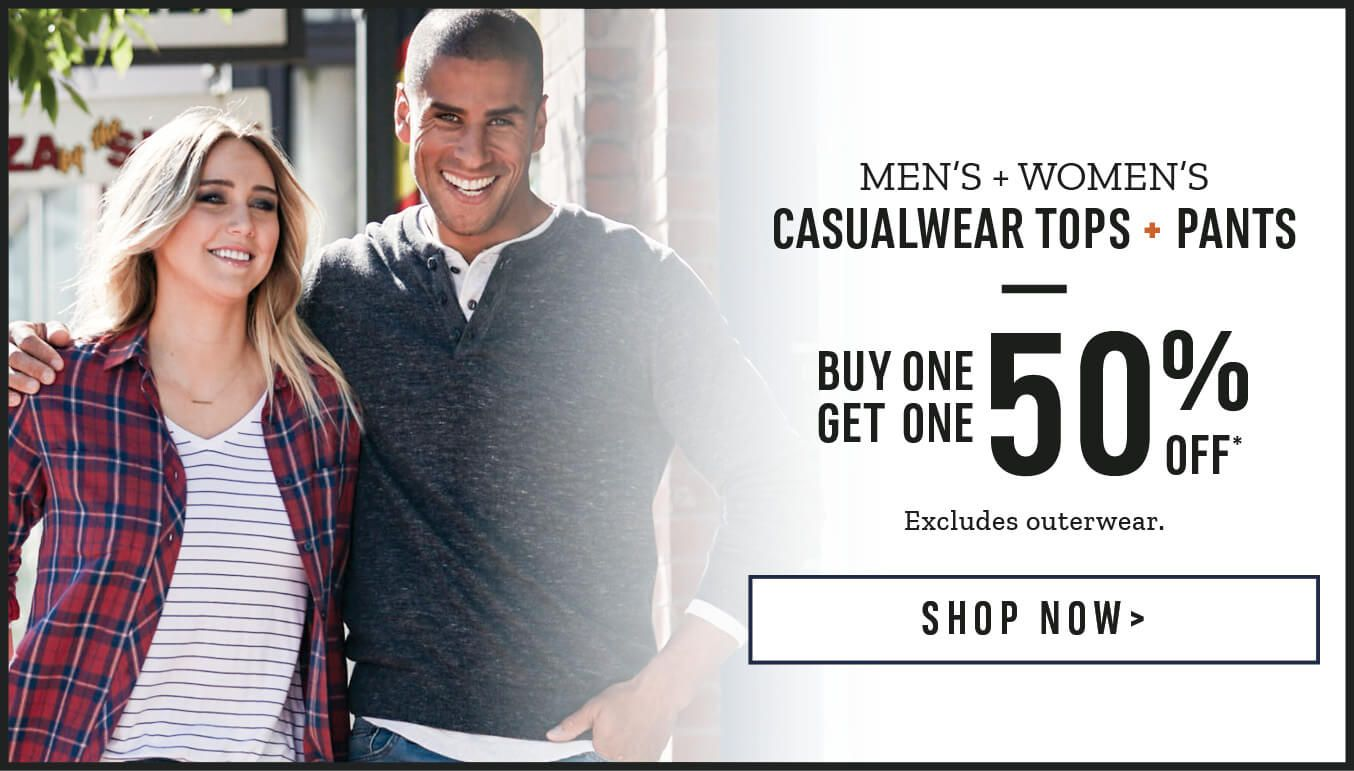 Men's and Women's Casualwear Tops + Pants. Buy One Get One 50% Off. Excludes outerwear & Local Laundry. Shop Now.