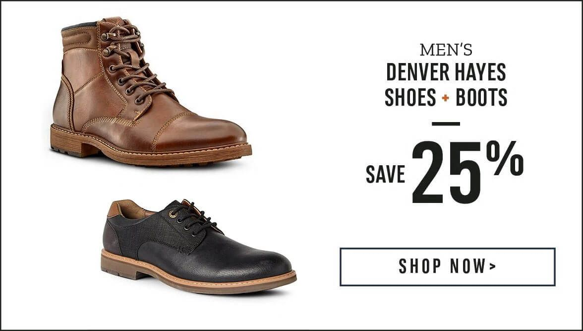 Men's Denver Hayes Shoes and Boots save 25% Off. Shop Now.
