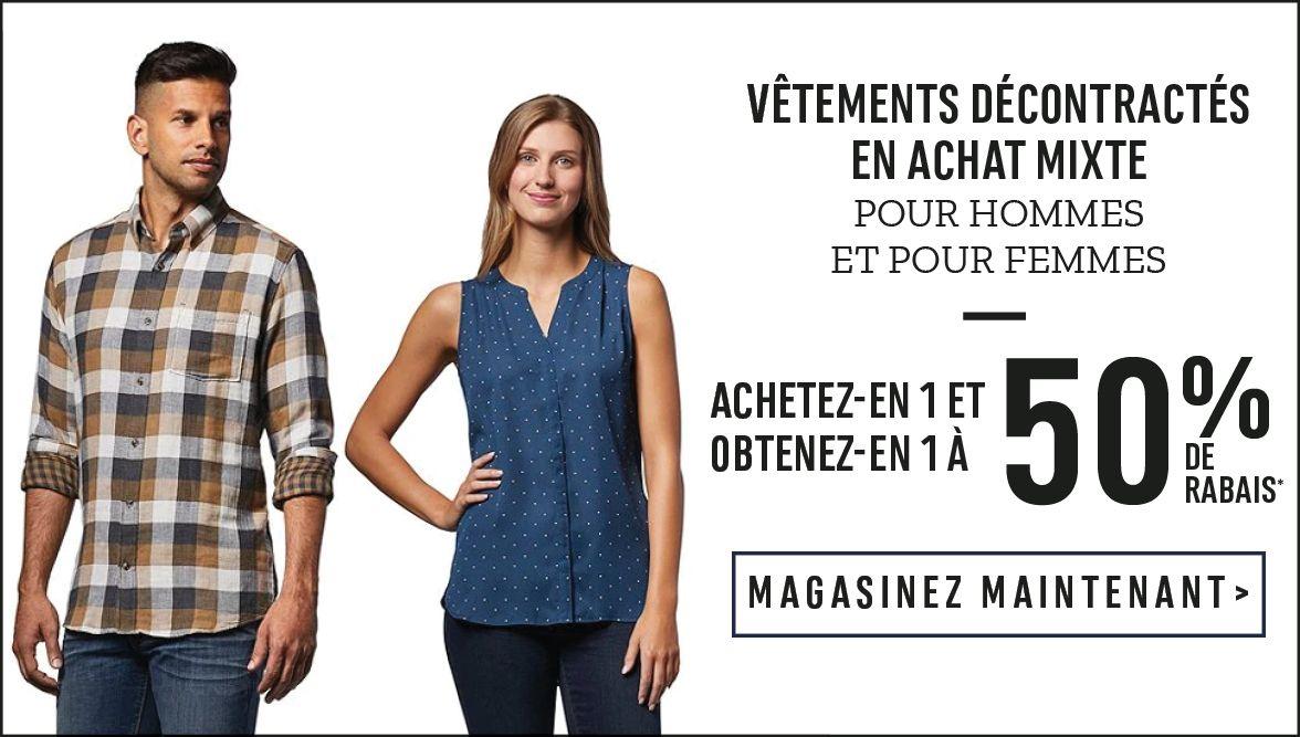 Vêtements décontractés en achat mixte t : Achetez-en 1 et obtenez-en 1 à 50 % de rabais* - MAGASINEZ MAINTENANT