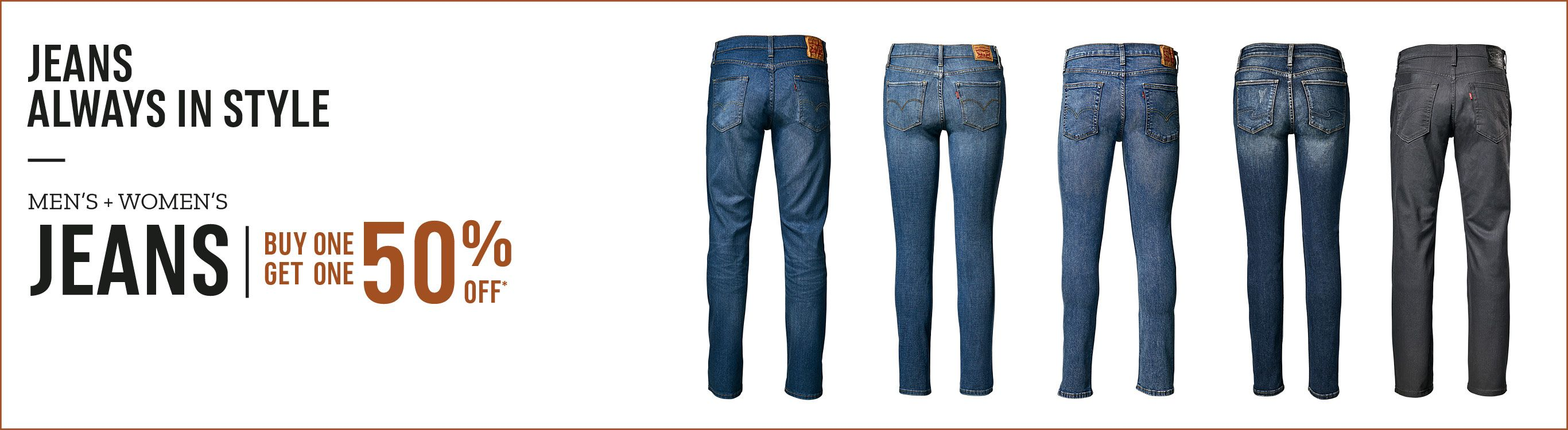 Men's and Women's Jeans Buy One Get One 50% Off.
