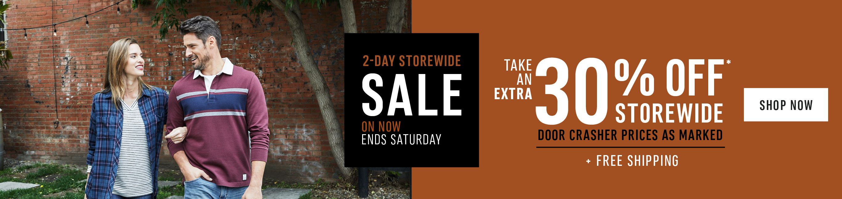 2-Day Storewide Sale. On Now, Ends Saturday. Take an Extra 30% Off Storewide plus Free Shipping. Shop Now!