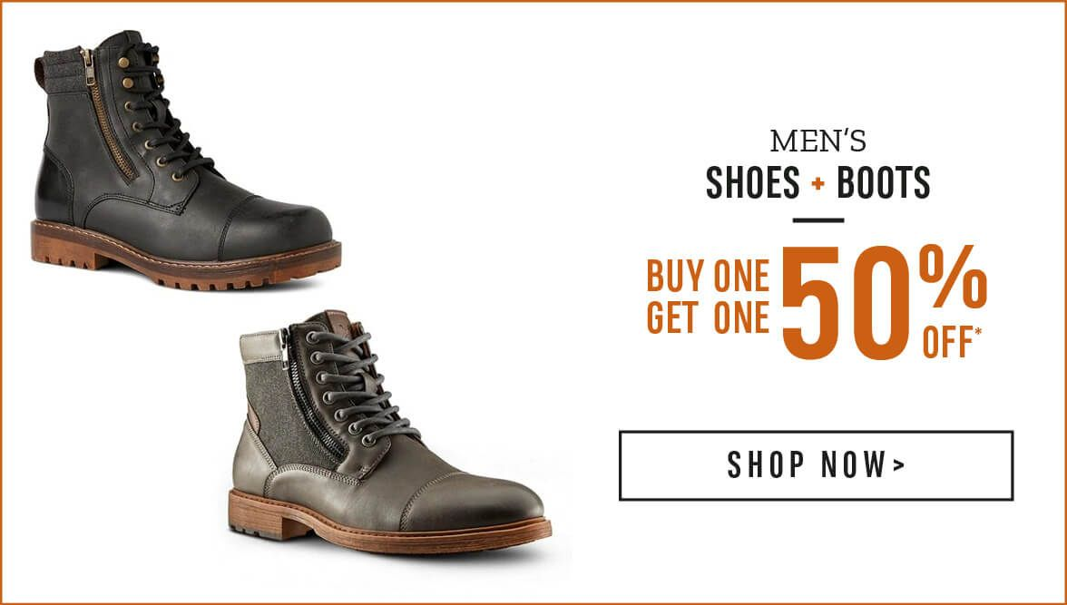 Men's Shoes and Boots Buy One Get one 50% Off* Shop Now!