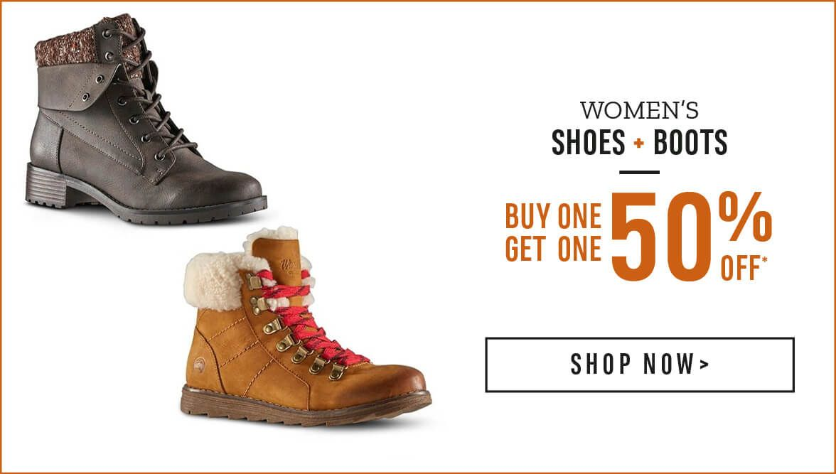 Women's Shoes and Boots Buy One Get one 50% Off* Shop Now!
