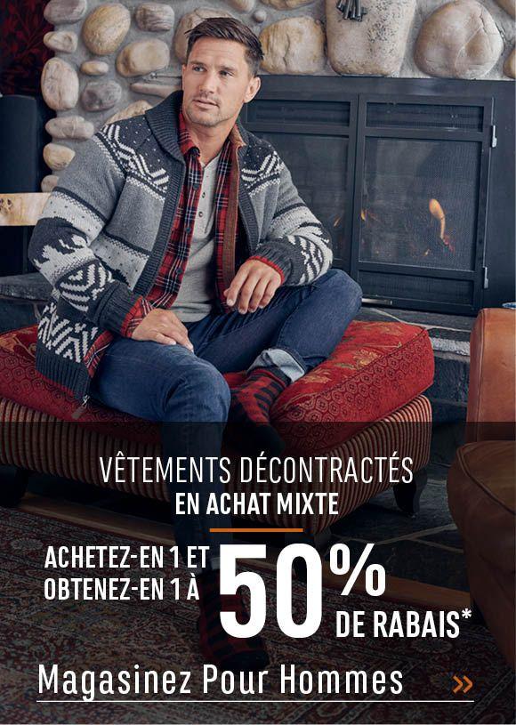 Vêtements décontractés en achat mixte achetez-en 1 et obtenez-en 1 à 50% de rabais*. MAGASINEZ POUR HOMMES