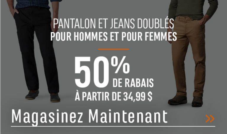 Pantalon et jeans doublés pour hommes et pour femmes - 50 % de rabais. À partir de 34,99. MAGASINEZ MAINTENANT