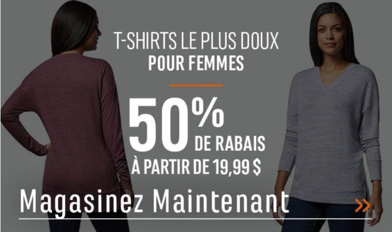 T-shirts le plus doux pour femmes - 50 % de rabais. À partir de 19,99 $. MAGASINEZ MAINTENANT