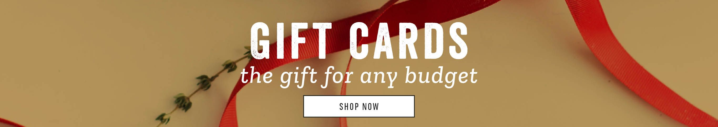Gift Cards. The Gift for any Budget. Shop Now.