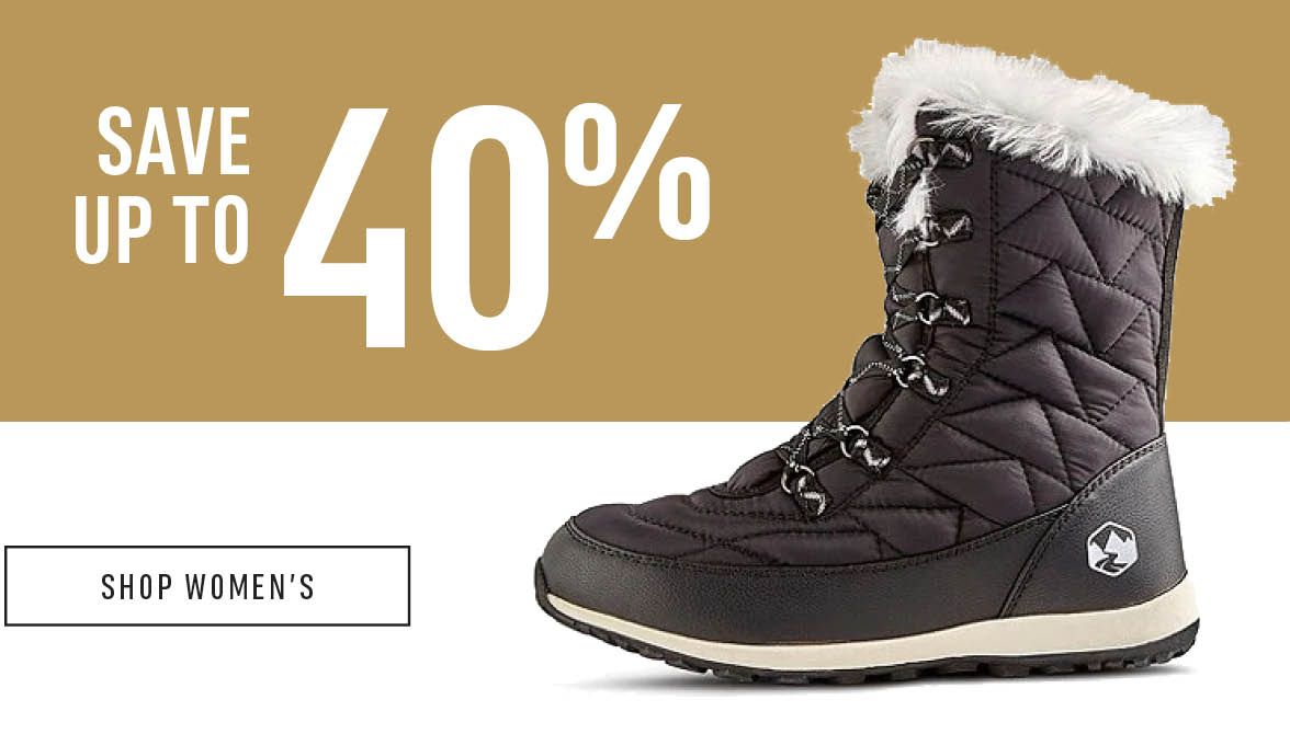 Boots. Rainy days, snowy days... we have you covered: Save up to 40% Off. Shop Women's.