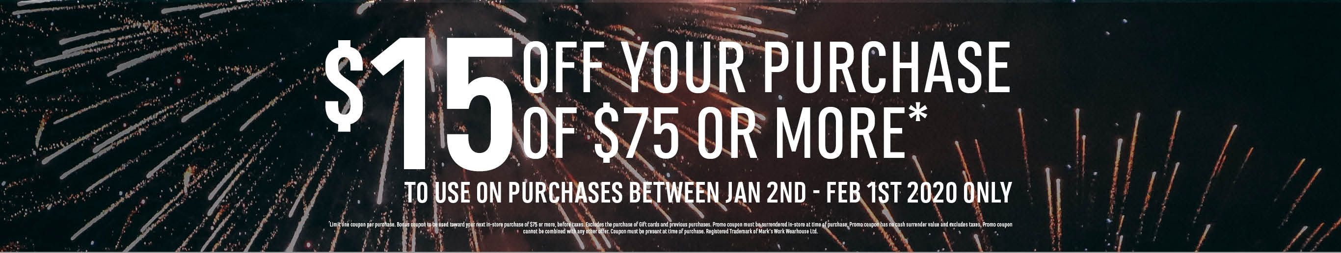 $15 off your purchase of $75 or more.