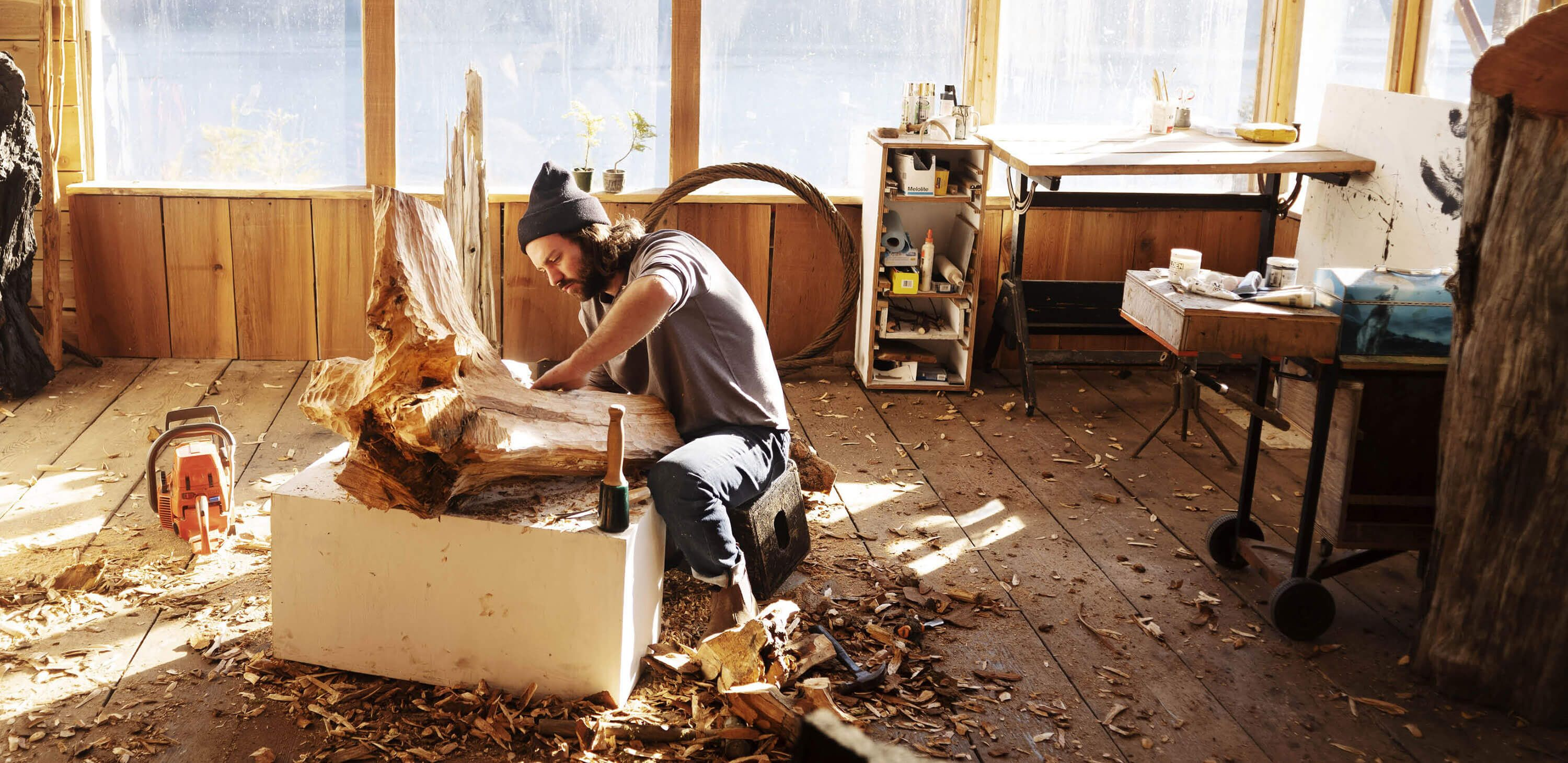 Troy Moth working in his off-the-grid workshop in British Columbia.