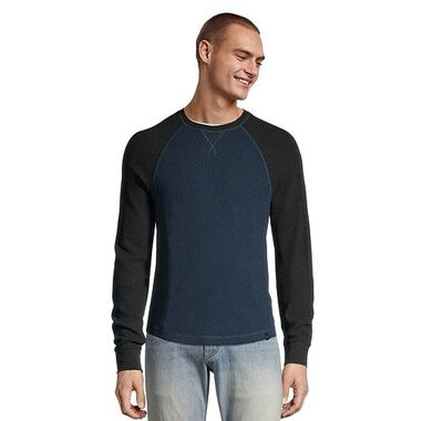 Men's Waffle Knit Thermal Crew Neck Top