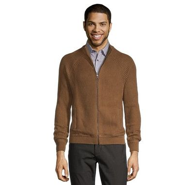 Men's Rib Knit Full Zip Mock Neck Sweater