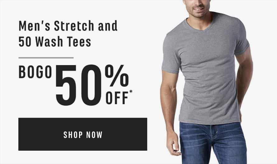 Men's Stretch and 50 Wash Tees: Buy One Get On 50% Off*