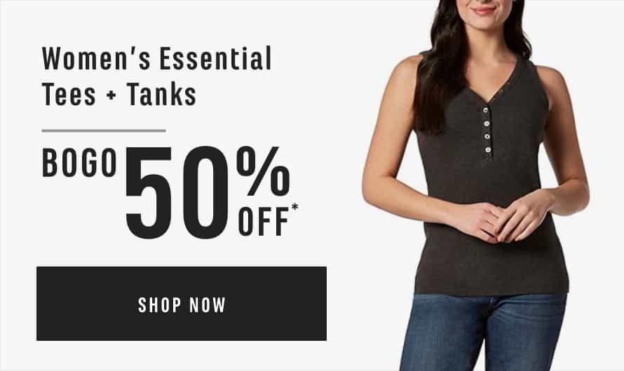 Women's Essential Tees & Tanks: Buy One Get One 50% Off*