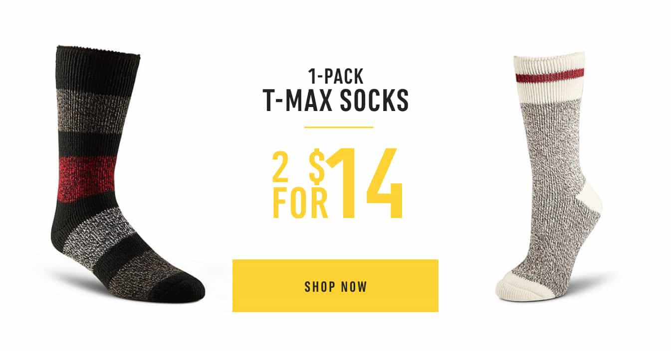 1-Pack T-Max Socks: 2 for $14. Shop Now