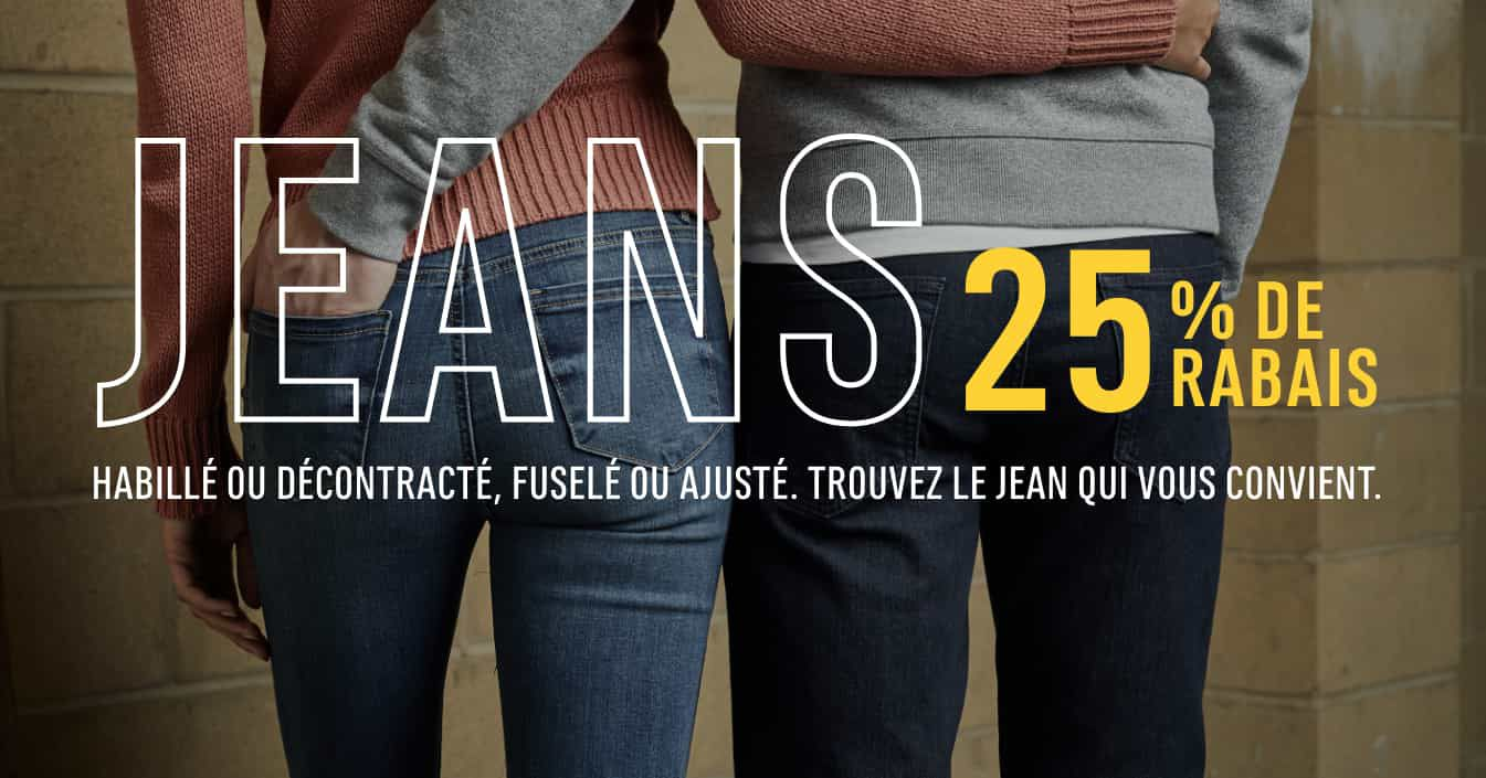 Jeans. Habillé ou décontracté, fuselé ou ajusté. Trouvez le jean qui vous convient.