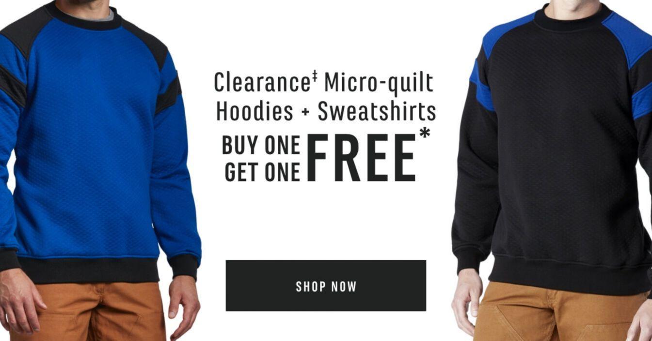 Micro-quilt Hoodies & Sweatshirts. BUY ONE GET ONE FREE. Shop Now