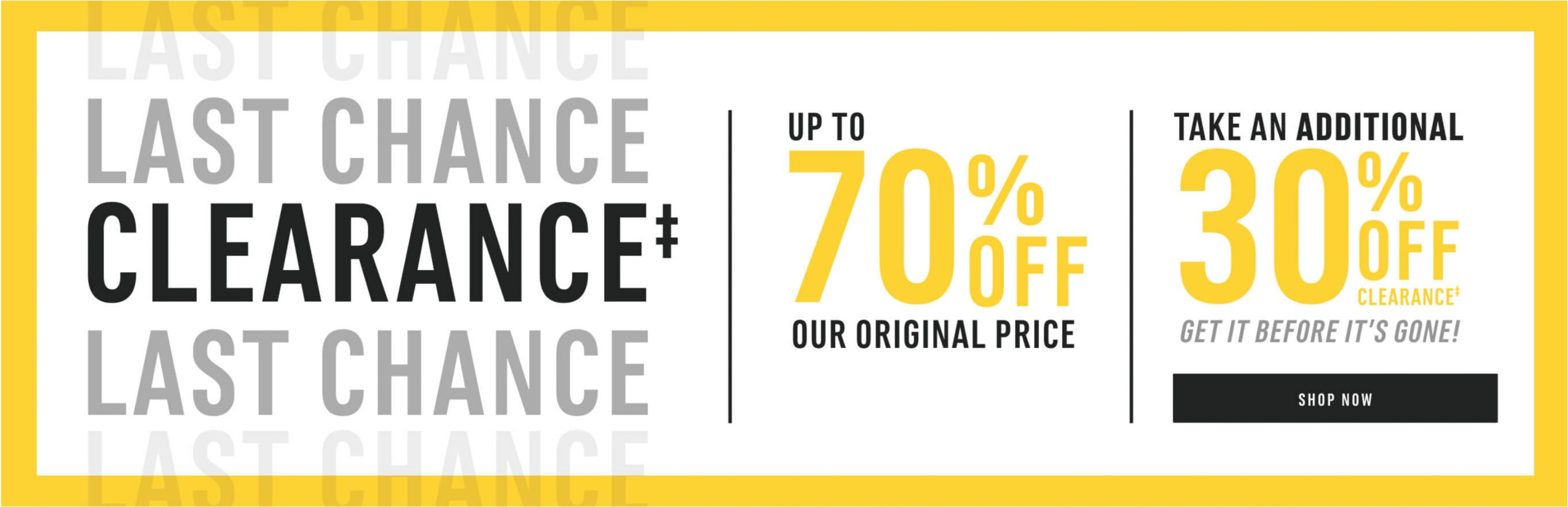 Clearance up to 70% Off Our Original Price. And take and Additional 30% Off. Shop Now!