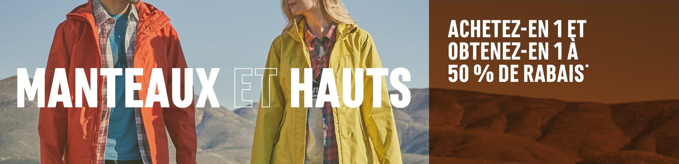 Nous vous avons tout ce dont vous avez besoin. Manteaux et hauts. Achetez-en 1 et obtenez-en 1 à 50 % de rabais*