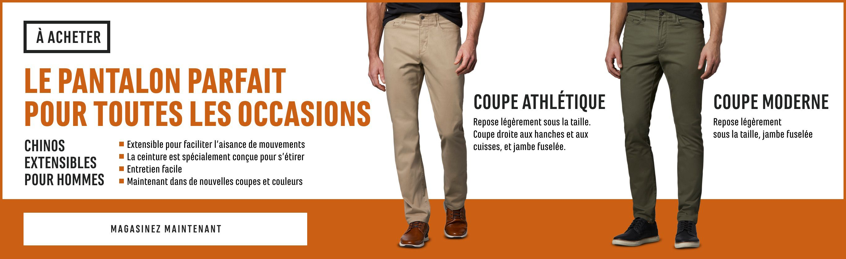 Chinos extensibles pour hommes