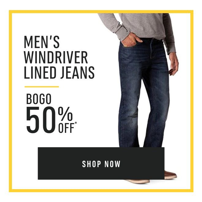 Men's Regular Priced WindRiver Lined Jeans - Buy One Get One 50% Off*