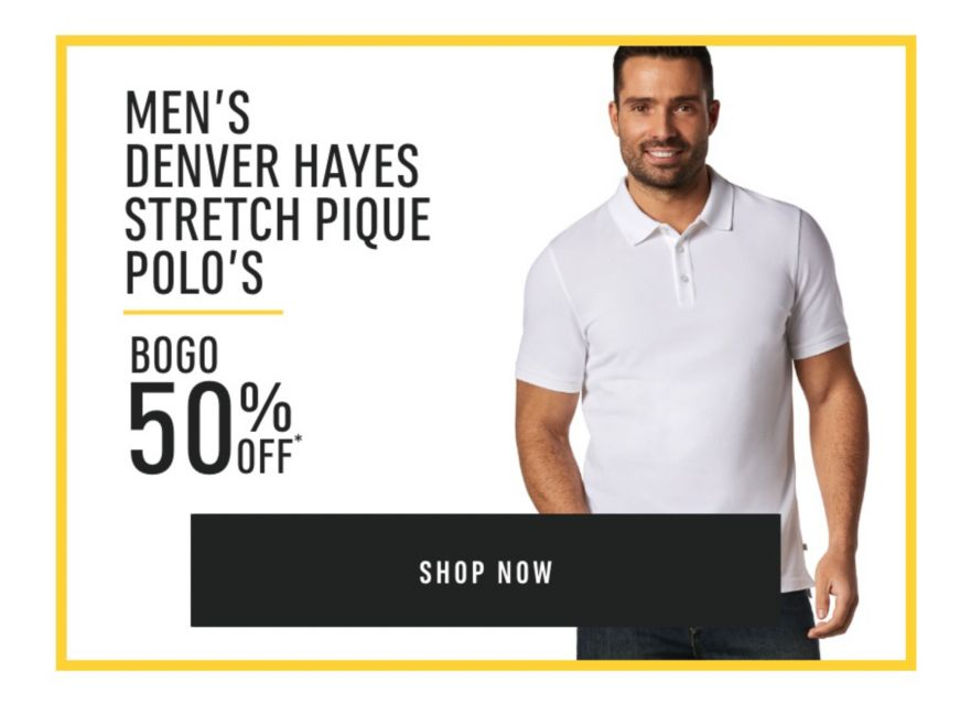 Men's Denver Hayes Stretch Pique Polo's - Buy One Get One 50% Off*