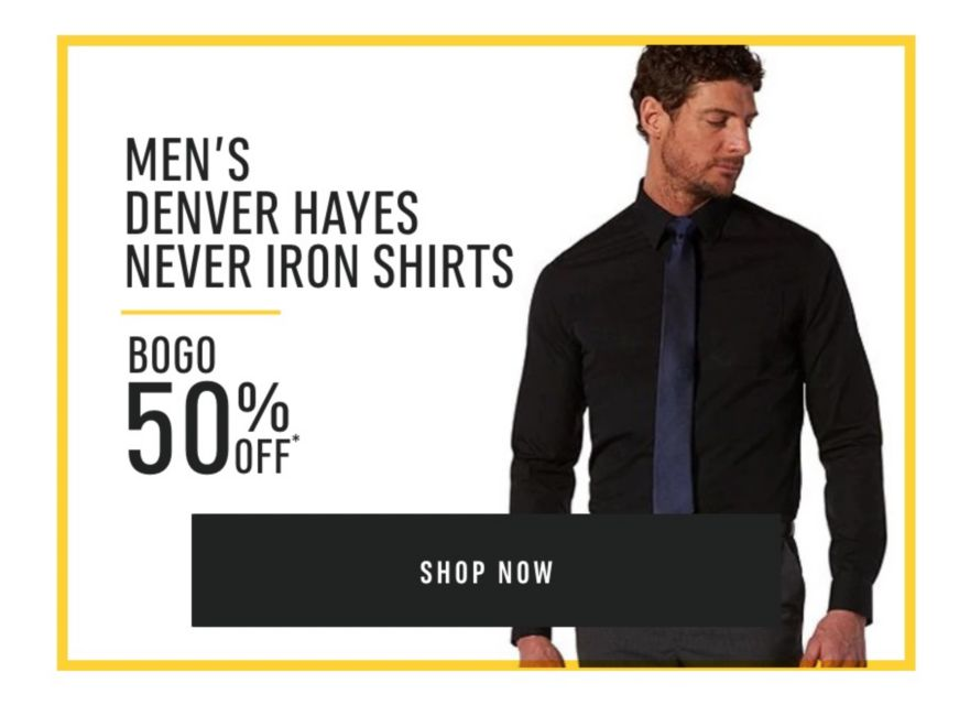 Men's Denver Hayes Never Iron Shirts - Buy One Get One 50% Off*