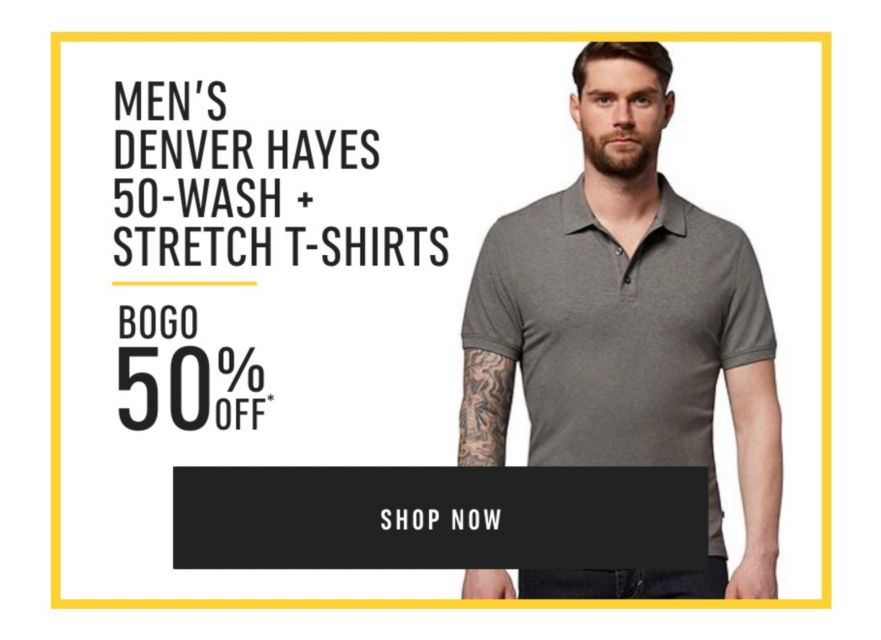 Men's Denver Hayes Stretch and 50 Wash T-Shirts - Buy One Get One 50% Off*