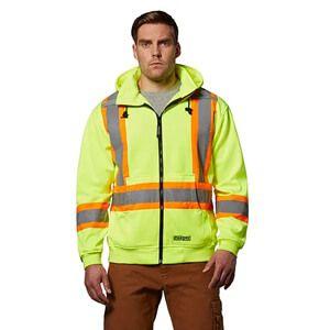 Men's Hi-Vis Lined Full Zip Hooded Sweatshirt